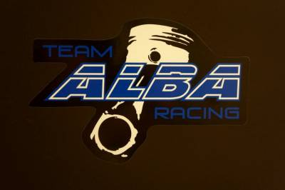 "Alba Racing decal 9"" x 6"" Bk / Blue - Image 1"